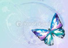 fundo de natureza com aquarela borboleta pintada sobre um fundo colorido