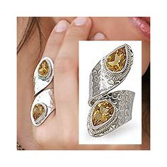 @Overstock - Original design by Aparna with golden citrineHammered silver wrap ring of splendid beautySuperb handmade jewelry features sterling silver settingshttp://www.overstock.com/Worldstock-Fair-Trade/Golden-Citrine-Wrap-Ring-India/4428324/product.html?CID=214117 $54.99