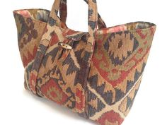 Upholstery Tote Knitting Bag Project by ButtermilkCottage on Etsy