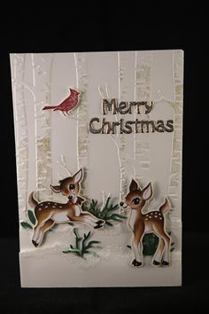 stampin up home for christmas and woodland embossing folder