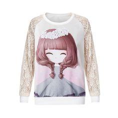 2016 Flower Girl Print Lace Pullover Women's Fashion Sweatshirts