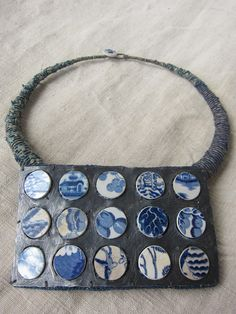 Amanda Caines - Neckpiece with salvaged china, metal and fibres...omg! Gorgeous!