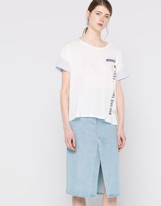 :STRIPED T-SHIRT WITH PATCHES