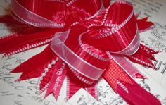 Red Valentine's Day Headband…Stacked bow made with layers of ribbon and pearls....