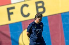 Manager Gerardo 'Tata' Martino of FC Barcelona looks on during a training session at the Sant Joan Despi Sport Complex on July 29, 2013 in Barcelona, Spain.