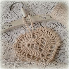 Crocheted Heart, made with twine-another heart for my collection Crochet World, Crochet Home, Love Crochet, Beautiful Crochet, Crochet Crafts, Yarn Crafts, Crochet Projects, Vintage Crochet, Thread Crochet