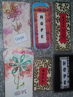 HOPE...mixed media tags and bookmarks to be donated to an outpatient eating disorder clinic to share God's love with SO many in need!