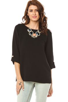 Lyla Blouse in Black / ShopSosie #black #boatneck #cuffed #sleeve #blouse #shopsosie