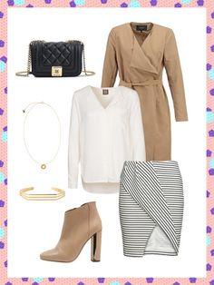 What to wear to work: Dass ein Business-Look mit weißer Bluse nicht langweilig aussieht, beweist dieser Look mit einer lockeren Tunika zum asymmetrischen Rock.
