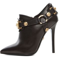 VERSACE Harness Bootie in Black ($1,425) ❤ liked on Polyvore