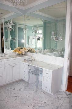 Birds of a Feather Design - bathrooms - crystal sconces, crystal chandelier, bathroom crystal chandelier, white beadboard vanity, make-up va...