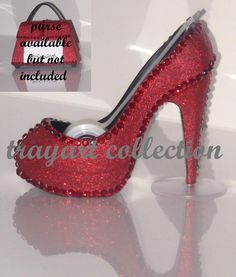 Ruby Red Gem Bling sparkle High Heel Shoe TAPE DISPENSER Stiletto Platform - office supplies - trayart collection. $29.50, via Etsy.