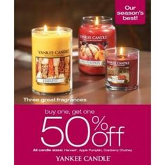 Buy One, Get One 50% Off – Apple Pumpkin, Cranberry Chutney and Harvest  Buy One, Get One 50% Off – Pure Radiance™ Autumn and Toasted Almond  Mix & Match! 4 for $20 - Scent Plug® Refills and Select Bases, Concentrated Room Spray and Fragrance Spheres (reg. $5.49 - $7.99 each)  Mix & Match! 3 for $12 - Car Jar® Ultimates, Smart Scent™ Vent Clips and Vent Sticks (reg. $5.49 - $7.99 each) Valid Dates:  Fri, 09/25/2015 to Sun, 11/01/2015  | Yankee Candle | The Promenade Bolingbrook