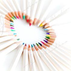 Crayon's Heart, Pencil Crayon Photo, Square Fine Art Photography Print, Rainbow Pastel, via Etsy. Crayon Heart, Rainbow Connection, Rainbow Colors, Rainbow Pastel, Rainbow Heart, Pencil Art, Fine Art Photography, Photography Ideas, Colored Pencils