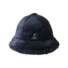 Kangol Faux Fur Casual Bucket Hat (€53) ❤ liked on Polyvore featuring accessories, hats, blue, stripe hat, holiday hats, cocktail hat, striped hat and fishing hats