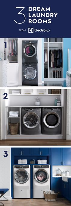 What does your dream laundry room look like? Here are some of our favorite designs including our new Washer and Dryer pair in both titanium and white. 1 - Try stacking your appliances and installing them in your closet for both convenience and aesthetic. 2 - Place under a counter to create a functional space that's both simple and sophisticated. 3 - Go bold and paint your cabinets with a statement color.