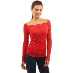 PattyBoutik Women's Floral Lace Off Shoulder Top