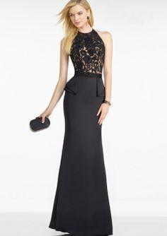 Sheath Black Halter Neckline Lace Bodice Satin Floor Length Mother of the Bride / Wedding Guest Dresses 5752