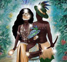 Search 'Oxum oxossi e logun' on DeviantArt - Discover The Largest Online Art Gallery and Community Orisha, African American Art, African Art, Linkin Park Wallpaper, Oshun Goddess, Yoruba Religion, Cuban Art, Sister Pictures, Deep Art
