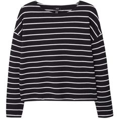Mango Striped Jumper, Black (230 ARS) ❤ liked on Polyvore featuring tops, sweaters, shirts, jumpers, cotton sweaters, long sleeve jumper, long sleeve shirts, long sleeve tops and striped sweater