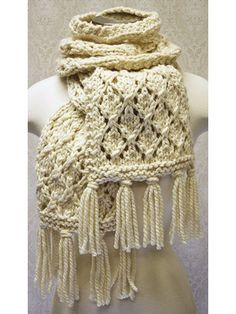 Chunky Lace Knit Scarf knitting pattern and more lacy scarf knitting patterns