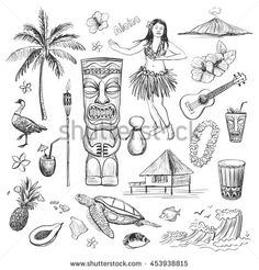 East Urban Home Ambesonne Surf Shower Curtain, Surfing Sport Surfboard Beach Van Sketch Style Monochromic Illustration, Cloth Fabric Bathroom Decor Se Tropical Tattoo, Tropical Art, Small Forearm Tattoos, Small Tattoos, Tattoo Sleeve Designs, Sleeve Tattoos, Island Tattoo, Petit Tattoo, Wave Illustration