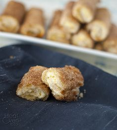 Cream Cheese Rollups with Cinnamon Sugar ~ Heat Oven to 350
