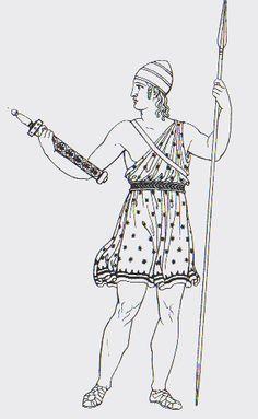 Exomis: Rectángulo de tejido de talla pequeña, atado a uno de los dos brazos y fijado a la cintura por un cinturón.