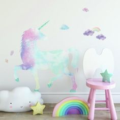 Mitbewohner -count galaxy unicorn riesen-peel and stick wall decals-multi Unicorn Wall Decal, Unicorn Room Decor, Unicorn Rooms, Unicorn Bedroom, Rainbow Wall Decal, Mermaid Wall Decals, Decorating With Sticks, Little Girl Rooms, Little Girls