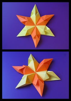 Stella di cuori 2 (6 punte) - Star of hearts 2 (six-pointed). Modular origami, no cuts, no glue, 6 squares of paper, 10,5 cm x 10,5 cm. Designed and folded by Francesco Guarnieri, June 2012. CP and Instructions: http://guarnieri-origami.blogspot.it/2013/02/stella-di-cuori-2.html