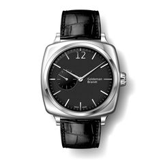 GB001-1  Stainless steel, Arched matte black dial with hand applied markers, Limited to 200 pieces