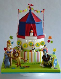Madagascar Circus cake by Sweet K (11/4/2012)  View details here: http://cakesdecor.com/cakes/35250