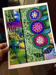 Floral Collage with Rumi Quote by BethNadlerArt on Etsy