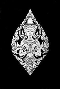 Traditional Thai art, Hello god. Stock Photo