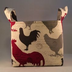 New!  Fabric Basket, Home Decor, Rooster Silhouettes