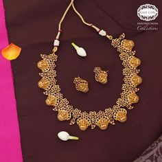 The Nesavu online ethnic kidswear, handbags, fashion jewellery store Antique Necklace, Antique Jewelry, Telugu Wedding, South Indian Bride, Indian Fashion, Wedding Jewelry, My Girl, Fashion Accessories, Jewellery