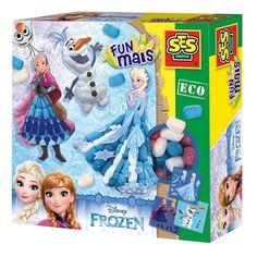Jouw favoriet Frozen figureng Elsa, Anna en Olaf maak jij nu met Funmais! Maak het speelmais een beetje nat en plak ze aan elkaar op de 3 legkaarten. Creëer de mooiste Frozen kunstwerkjes met de 400 stukjes biologische afbreekbaar Funmais. Inclusief drukwerk, spons, mesje en handleiding. Afmeting: verpakking 25 x 25 x 7 cm - SES Funmais Frozen