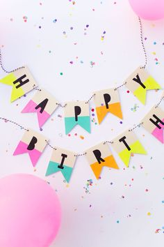 Painted wood birthday banner