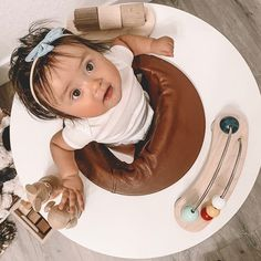 What a sweet little girl in Three Pears Triple Play Centre. Wooden centre that transitions into a toddler table and finally a children's table. Toddler Table, Modern Toys, Play Centre, Smart Design, Activity Centers, 4 Months, Modern Family, Pears, Kids Furniture