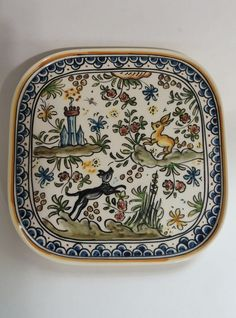 Cat Supplies Two Piece Vintage Ceramic Pottery Hand Painted Dog Bowls Dishes From Portugal Dishes, Feeders & Fountains