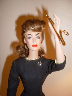 """Joan Crawford as Mommie Dearest Barbie. """"When I told you to call me that, I wanted you to MEAN it! Katharine Hepburn, Joan Crawford, Jaclyn Smith, Julie Andrews, Judy Garland, Sophia Loren, Lucille Ball, Bette Davis, Elizabeth Taylor"""