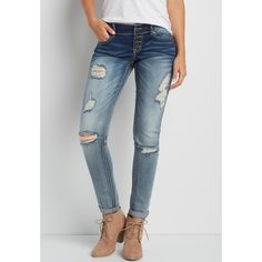 maurices Denimflex™ Skinny Boyfriend Jeans With Destruction And Button... ($44) ❤ liked on Polyvore featuring jeans, ripped skinny jeans, super skinny jeans, distressed boyfriend jeans, torn jeans and distressed skinny jeans
