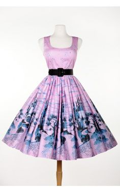 Pinup Couture - Aurora Dress in Pink Castle Print | Pinup Girl Clothing