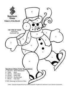 Free Snowman Patterns  Stained Glass Snowman Pattern  Painting