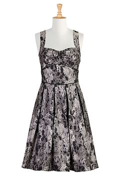 Fifties floral glimmer dress, #eShakti, Customize to your size and style for FREE