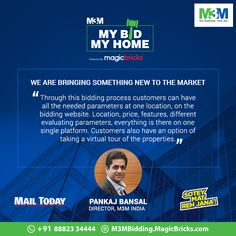 Mr. Pankaj Bansal (Director, M3M India) shares with Mail Today, how M3M is bringing customers closer to their dream home with #MyBidMyHome campaign. #SoteyMatRehJana #M3MIndia #MBMH*As published in an exclusive interview with Mail Today, September 18, 2017.