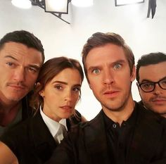 Luke Evans, Emma Watson, Dan Stevens, and Josh Gad