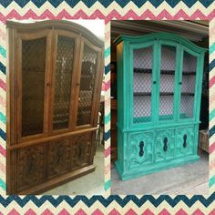 Turquoise hutch. Before and after. Www.facebook.com/okiecharm