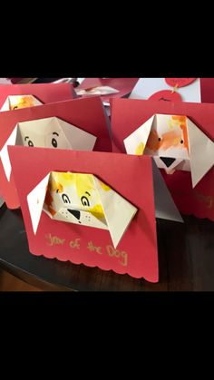 Year of the Dog greeting cards with toddler painted origami dog face