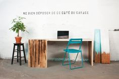 Reclaimed Lath Wood EAST END Desk Office by AtelierEastEndMtl